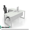 L Shape Office Table With OMetal Leg
