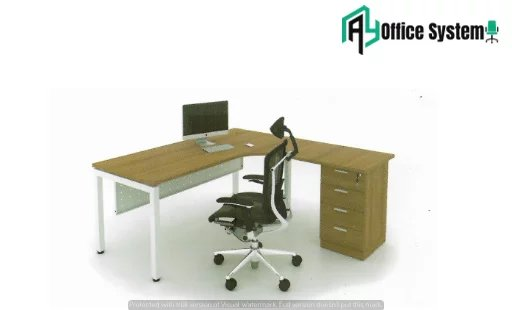 MLT 1515 - U/4D - L Shape Office Table with J Shape Metal Leg + 4D Pedestal 1