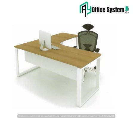 MLT 1515 - O - L Shape Office Table with O Shape Metal Leg AY Office System