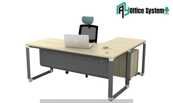 VOML 1515 - L Shape Office Table with O Shape Pyramid Leg AY Office System