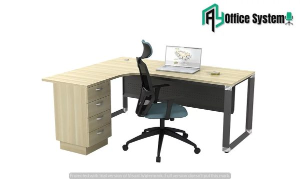 VOML 1515 - 3D - L Shape Office Table with O Shape Pyramid Leg + 3D Pedestal AY Office System