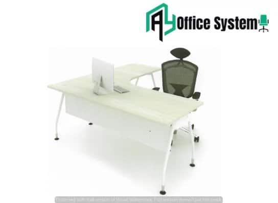 MLT 1515 - V - L Shape Office Table with J Metal Leg AY Office System