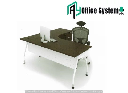 MLT 1515 - V/4D - L Shape Office Table V Metal Leg + 4D Pedestal AY Office System