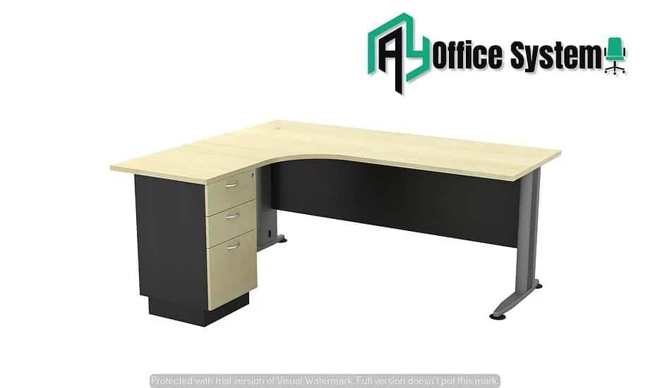 VTL 1515-3D - L Shape Office Table with J Shape Metal Leg + 3D Pedestal 1