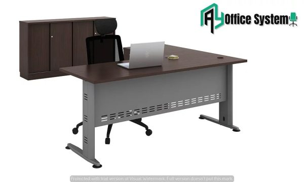 VQL 1515-4D - L Shape Office Table with J Shape Metal Leg + 4D Pedestal 1