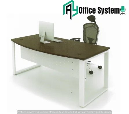 D Shape Office Table with O Metal Leg