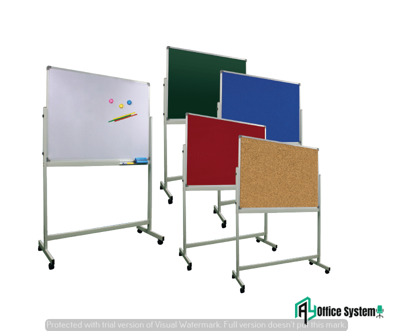 TBC - Magnetic Whiteboard + Cork Board Twin Board With Stand AY Office System