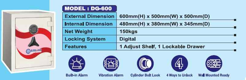 DG 600 - Fire Resistance Digital Safety Box Security Box with Digital Lock AY Office System