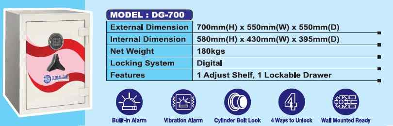 DG 700 - Fire Resistance Digital Safety Box Security Box with Digital Lock AY Office System