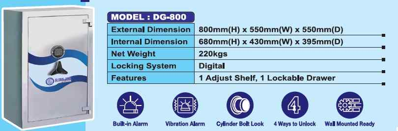 DG 800 - Fire Resistance Digital Safety Box Security Box with Digital Lock AY Office System